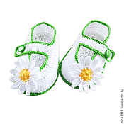 Работы для детей, handmade. Livemaster - original item booties for girls, baby booties shoes, white, chamomile. Handmade.