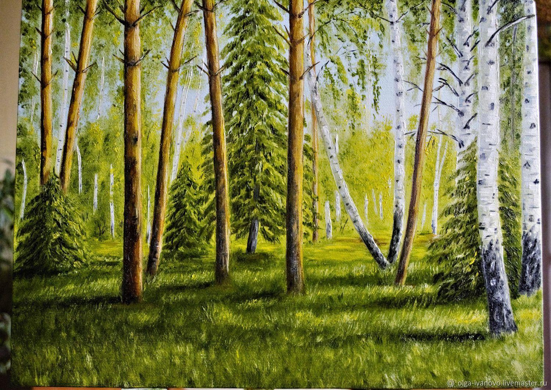 Авторская картина пейзаж Русский лес, холст, масло, Картины, Иваново,  Фото №1
