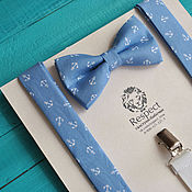 Аксессуары handmade. Livemaster - original item Blue tie with blue Suspenders anchor / Set Anchor. Handmade.