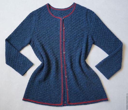 """Кофты и свитера ручной работы. Ярмарка Мастеров - ручная работа. Купить Кардиган твид """"Индиго"""". Handmade. Тёмно-синий"""