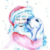 Картины и панно ручной работы. Ярмарка Мастеров - ручная работа Дед Мороз и собака. Handmade.