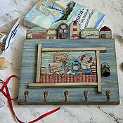 handmade. Livemaster - original item Housekeeper hanger Town by the sea. Decoupage key holder. Handmade.