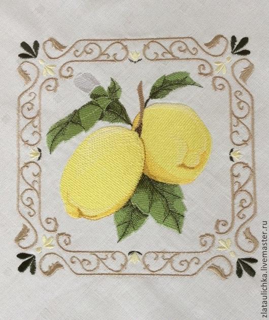 """Текстиль, ковры ручной работы. Ярмарка Мастеров - ручная работа. Купить Скатерть с вышивкой """" Лимон"""". Handmade. Скатерть"""