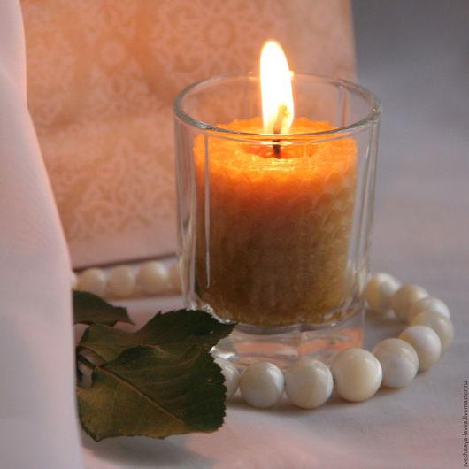 Свечи ручной работы. Ярмарка Мастеров - ручная работа. Купить свеча восковая в маленьком стаканчике. Handmade. Свеча, романтика, wax