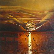 Картины ручной работы. Ярмарка Мастеров - ручная работа Чайки на закате. Handmade.