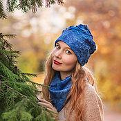 """Аксессуары ручной работы. Ярмарка Мастеров - ручная работа """"Синий иней"""" комплект шапочка и снуд. Handmade."""