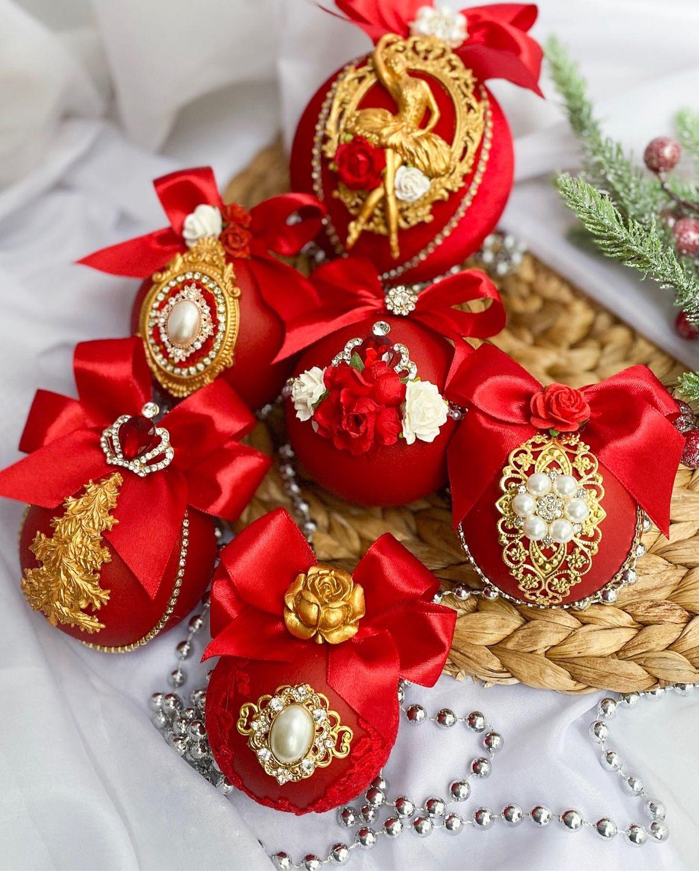 Новогодние шары в красном цвете с золотым оттенком, Елочные игрушки, Санкт-Петербург, Фото №1