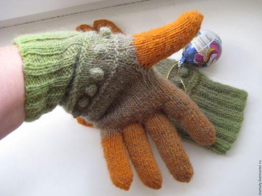 Варежки, митенки, перчатки ручной работы. Ярмарка Мастеров - ручная работа. Купить перчатки из натуральной шерсти. Handmade. Оранжевый