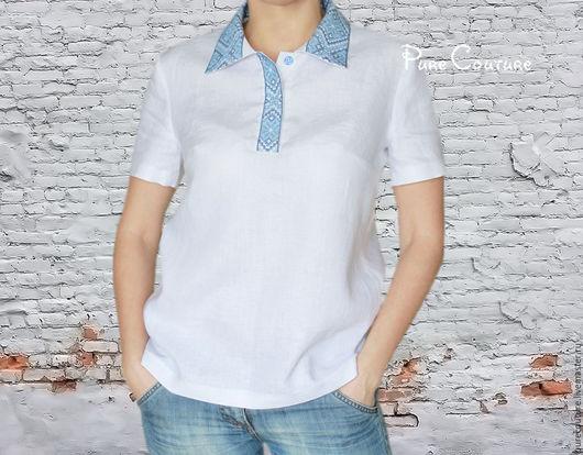 Рубашка поло женская Льняной топ Льняная рубашка женская Вышиванки Топ женский Поло короткий рукав Белый топ Белая рубашка поло Футболка Летняя одежда Натуральная одежда Органика Рубашка хлопок