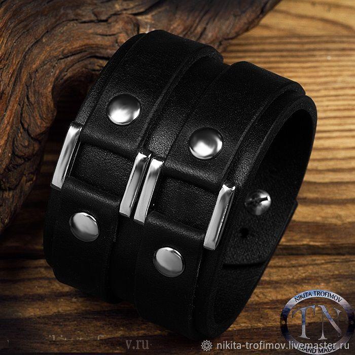 Черный кожаный браслет TNB8, Браслет жесткий, Владимир,  Фото №1