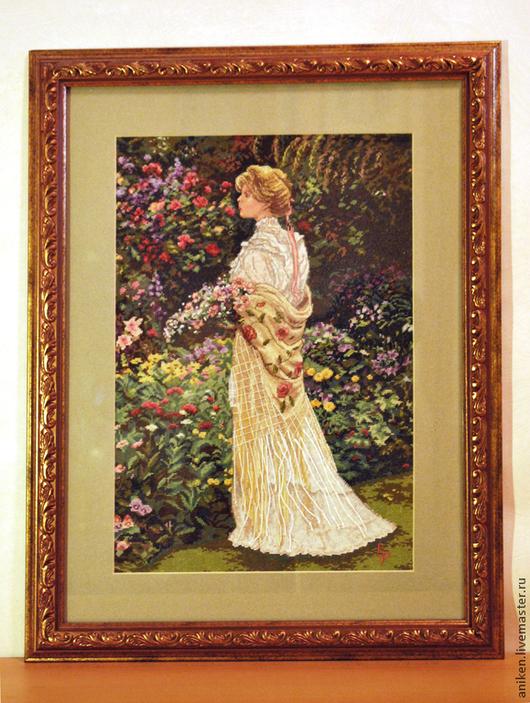 """Люди, ручной работы. Ярмарка Мастеров - ручная работа. Купить Вышивка крестом """"Дама в саду"""". Handmade. Оливковый, вышивка"""