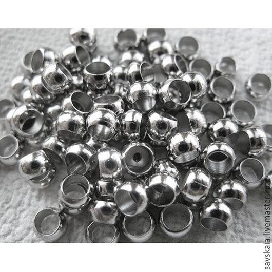 Бусины зажимные, цвет серебро, 3.5 мм