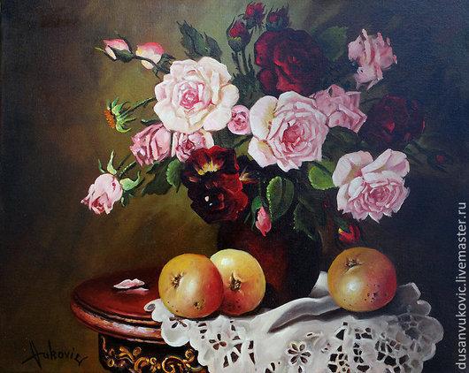 Натюрморт ручной работы. Ярмарка Мастеров - ручная работа. Купить Розы. Handmade. Белый, натюрморт, цветы
