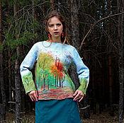 Одежда handmade. Livemaster - original item Sweatshirt felted Summer in the woods. Handmade.