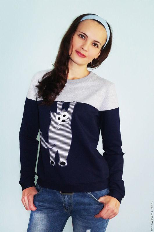 Кофты и свитера ручной работы. Ярмарка Мастеров - ручная работа. Купить Свитшот Funny cat. Handmade. Тёмно-синий