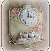 """Для дома и интерьера ручной работы. Ярмарка Мастеров - ручная работа Часы с полочкой """"Чаепитие в розовом саду -2"""".Единственный экземпляр.. Handmade."""