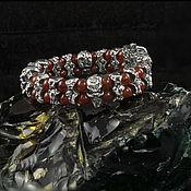"""Браслет из бусин ручной работы. Ярмарка Мастеров - ручная работа Серебряный браслет и бусин """"Savage Rock""""  с красным агатом. Handmade."""
