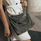Сумки и аксессуары handmade. Livemaster - original item Grey suede crossbody Bag with three pockets. Handmade.