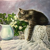 Картины и панно handmade. Livemaster - original item A cat in a hat. Handmade.