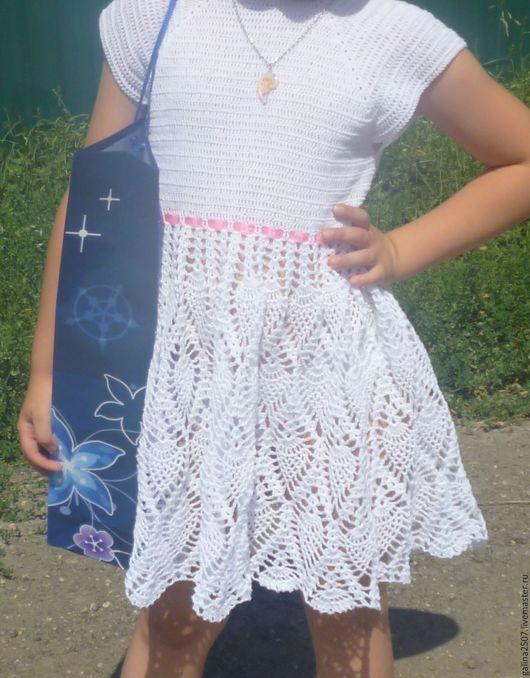 Одежда для девочек, ручной работы. Ярмарка Мастеров - ручная работа. Купить белые ананасы. Handmade. Белый, крючком, платье летнее