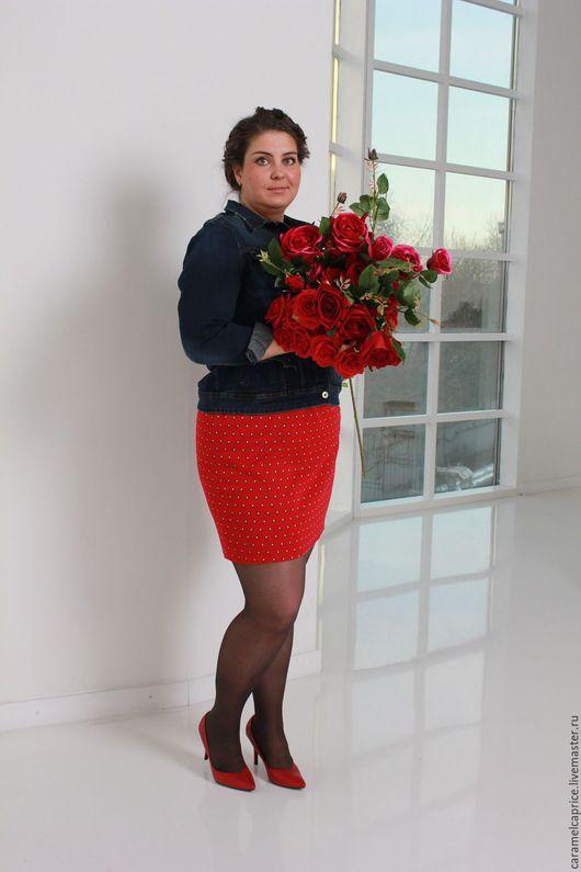 Большие размеры ручной работы. Ярмарка Мастеров - ручная работа. Купить Красная мини-юбка. Handmade. Ярко-красный, Квадратики