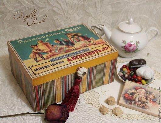 """Кухня ручной работы. Ярмарка Мастеров - ручная работа. Купить """"Русские чаеторговцы""""- короб для чая. Handmade. Комбинированный, старинная шкатулка"""