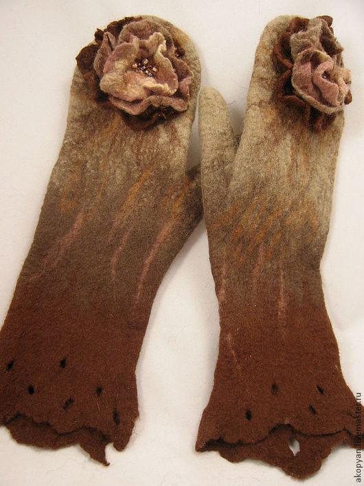 """Варежки, митенки, перчатки ручной работы. Ярмарка Мастеров - ручная работа. Купить Варежки валяные """" Шоколадные """". Handmade."""