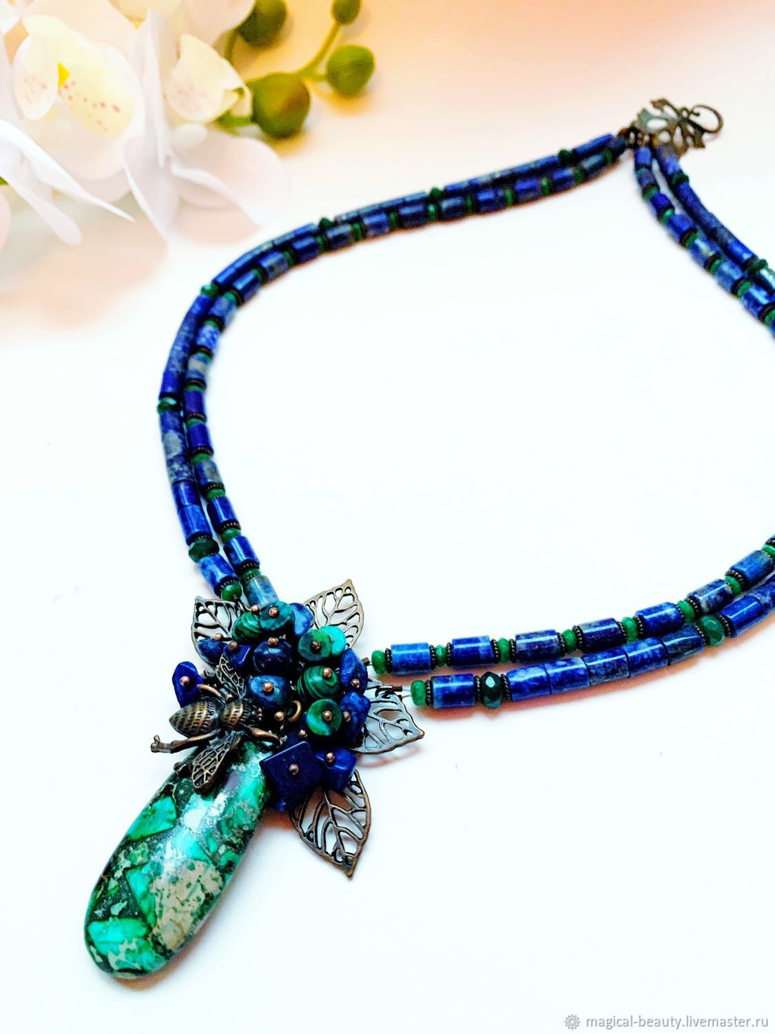 Necklace with lapis lazuli and variscite, Necklace, Moscow,  Фото №1