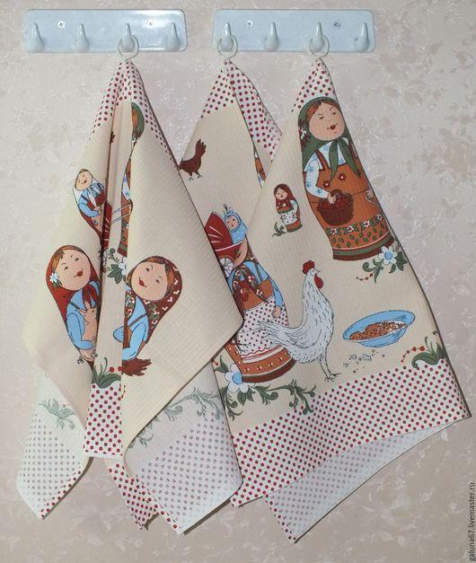 """Кухня ручной работы. Ярмарка Мастеров - ручная работа. Купить """"Матрёшки"""" набор полотенец 3 шт. Handmade. Полотенца, нитки"""