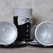 Посуда ручной работы. Ярмарка Мастеров - ручная работа Комплект из трех чашек и блюдец Чикаго. Черно-белая посуда. Handmade.