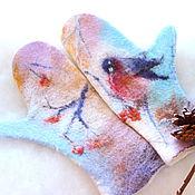 Аксессуары handmade. Livemaster - original item mittens felted watercolor painting. Handmade.