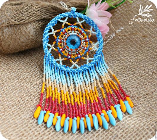 Кулоны, подвески ручной работы. Ярмарка Мастеров - ручная работа. Купить Украшение Кулон из бисера Ловец снов  Африка. Handmade.