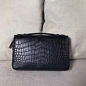 Сумки и аксессуары handmade. Livemaster - original item Clutch men`s crocodile leather, in dark blue. Handmade.