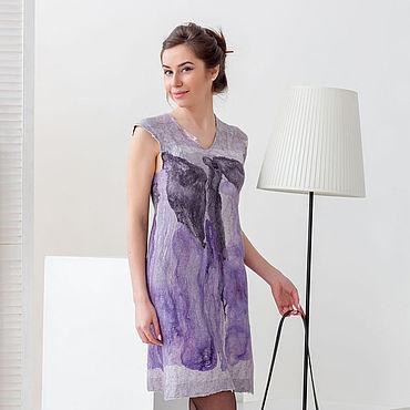"""Одежда ручной работы. Ярмарка Мастеров - ручная работа Валяное платье """"В море фиолетовых чернил"""". Handmade."""