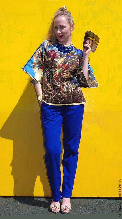 """Блузки ручной работы. Ярмарка Мастеров - ручная работа. Купить Блузка хлопковая """"Птицы"""". Handmade. Блузка с принтом, Ультрамарин"""