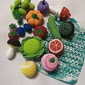 Куклы и игрушки handmade. Livemaster - original item Doll food: knitted fruits and vegetables in a grid. Handmade.
