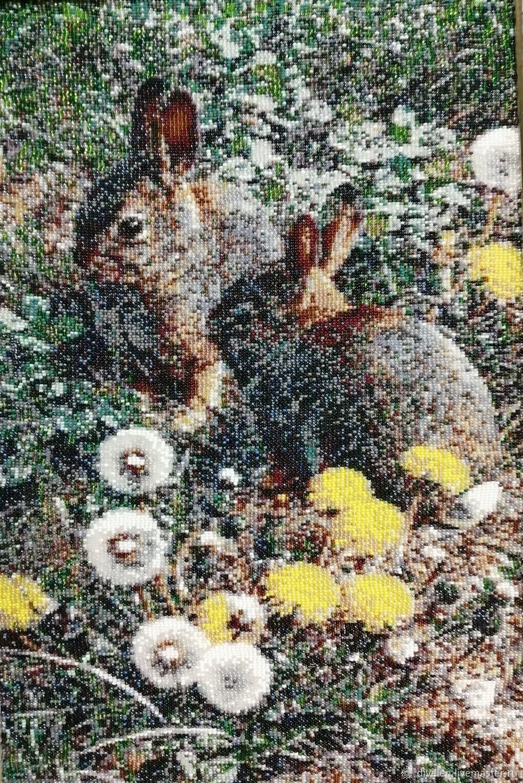 Tapestry beaded. BUNNIES DANDELIONS, Pictures, Divnogorsk,  Фото №1