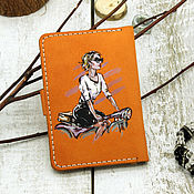 Канцелярские товары handmade. Livemaster - original item Women`s cover for auto documents with a picture. Handmade.