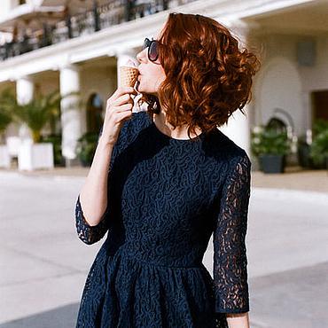 Одежда ручной работы. Ярмарка Мастеров - ручная работа Синее кружевное платье. Handmade.