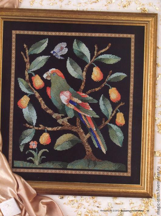 """Пейзаж ручной работы. Ярмарка Мастеров - ручная работа. Купить """" Тропическая ночь """". Handmade. Разноцветный, груши, попугай"""