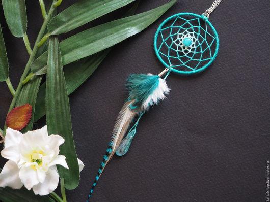 Кулон с перьями в виде ловца снов - необычное украшение в стиле бохо! Яркие кулоны с перьями и ловцом сновидений предадут вашему образу интригующую изюминку и сделают ваш образ незабываемым!