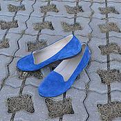 Обувь ручной работы. Ярмарка Мастеров - ручная работа Лоферы женские ЯРКОСИНИЕ. Handmade.