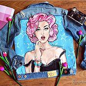 Одежда ручной работы. Ярмарка Мастеров - ручная работа Джинсовая куртка(джинсовка) с ручной росписью в стиле поп-арт. Handmade.