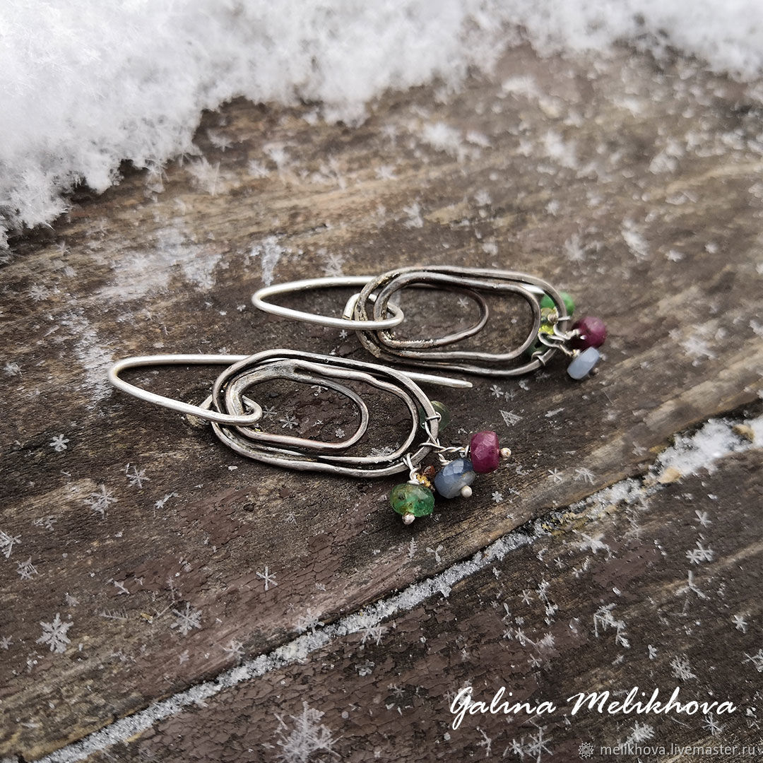 Earrings with tourmaline Nickel silver and silver, Earrings, Moscow,  Фото №1