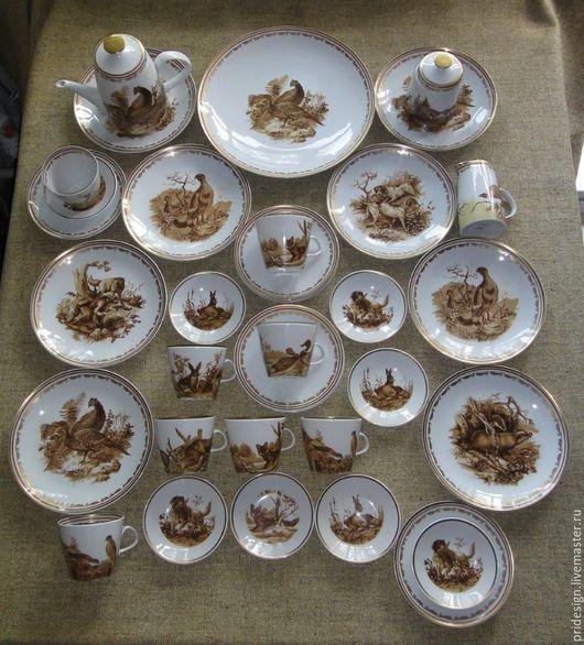"""Винтажная посуда. Ярмарка Мастеров - ручная работа. Купить Чайный сервиз """"Охота"""" на 8 персон, производство ГДР, 36 предметов.. Handmade."""