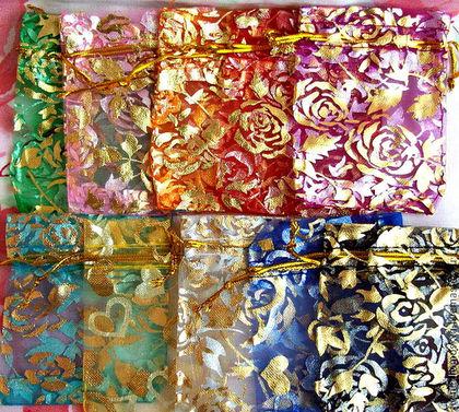 Новый год 2017 ручной работы. Ярмарка Мастеров - ручная работа. Купить Мешочки из органзы с рисунком (розочки,сердечки) 7х9 см.. Handmade.