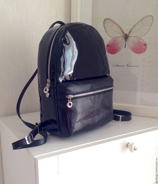 """Рюкзаки ручной работы. Ярмарка Мастеров - ручная работа. Купить Рюкзак """"GiBa"""" Черное зеркало. Handmade. Лаковый рюкзак"""