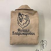 Одежда handmade. Livemaster - original item Bathrobes: Men`s velour-Terry with individual embroidery. Handmade.