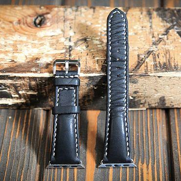 Украшения ручной работы. Ярмарка Мастеров - ручная работа Чёрный кожаный ремешок для Apple Watch. Handmade.