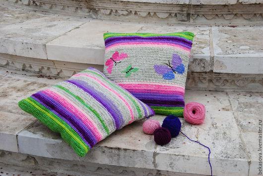 """Текстиль, ковры ручной работы. Ярмарка Мастеров - ручная работа. Купить Подушечки """"Бабочки"""". Handmade. Вязаный крючком, счастье, прованс"""